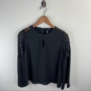 Aqua Black Blouse Lace Detail Bell Sleeves Size S